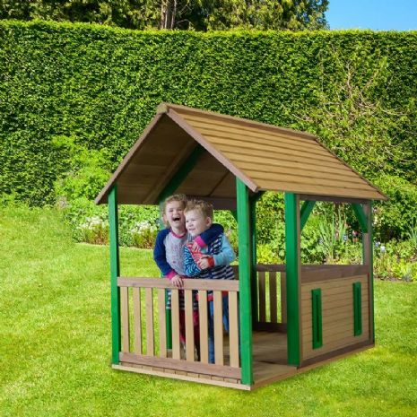 Jungle Outpost Wooden Playhouse With Porch